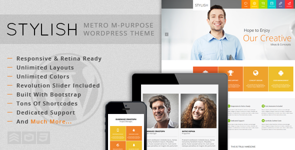 Live Preview of  STYLISH - Metro Multi-Purpose WordPress Theme