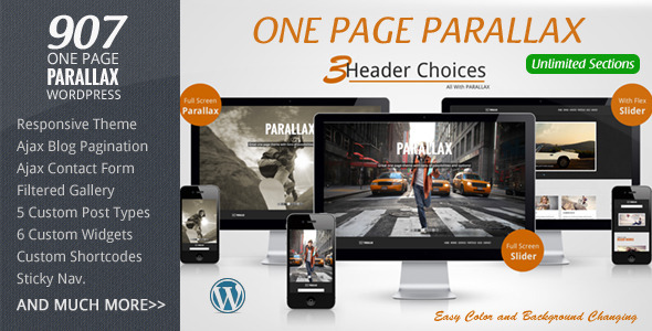 Live Preview of 907 - Responsive WP One Page Parallax