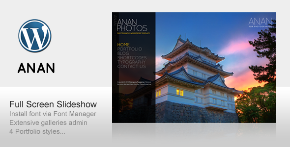 Live Preview of ANAN - For Photography Creative Portfolio