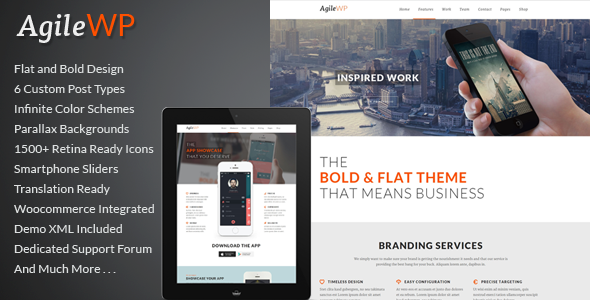 Live Preview of Agile - Multi-Purpose App Showcase WordPress Theme