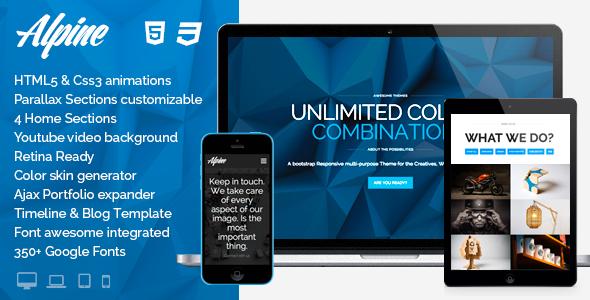 Live Preview of Alpine - Wordpress Responsive Una pagina Parallax