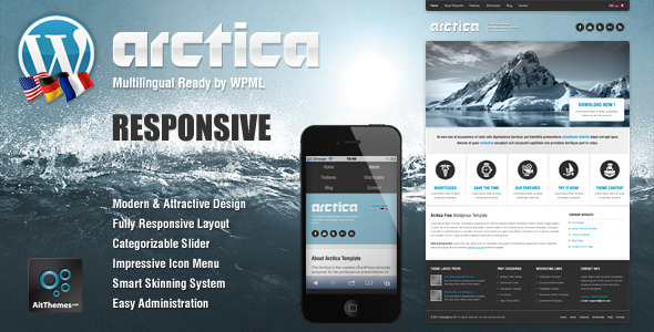 Live Preview of Arctica Responsive Wordpress Theme