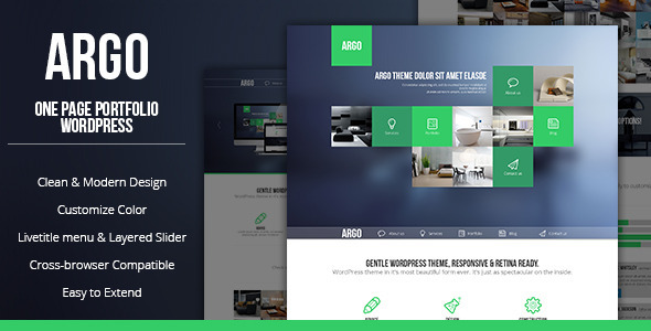 Live Preview of Argo - Modern OnePage Metro UI Wordpress Theme