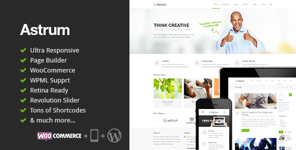 Live Preview of Astrum - Responsive Multi-Purpose WordPress Theme