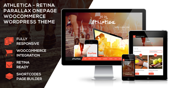 Live Preview of Athletica - Retina Parallax OnePage WP Shop Theme