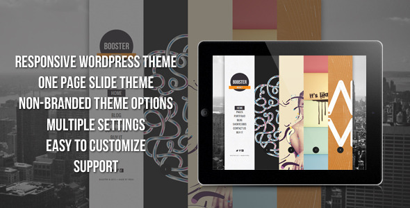 Live Preview of BOOSTERIUS - Responsive one page slide WordPress theme