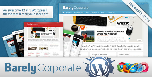 Live Preview of Barely Corporate Premium WordPress Theme - 12 in 1