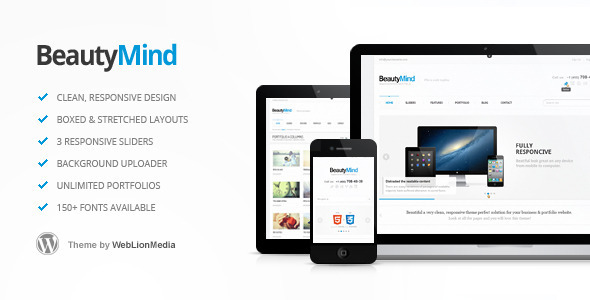 Live Preview of BeautyMind - Responsive and Clean WordPress Theme