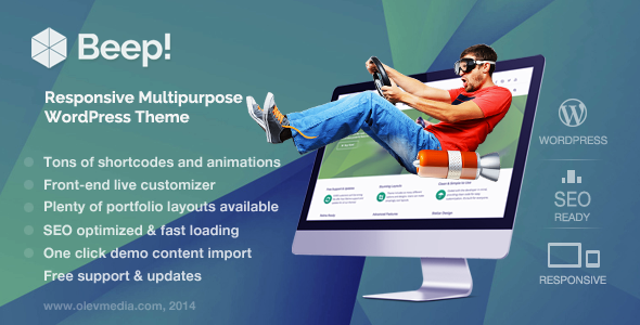 Live Preview of Beep! — Responsive Multi-Purpose Wordpress Theme