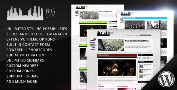 Live Preview of Big City - Personal and Blog WordPress theme