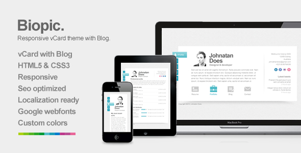 Live Preview of Biopic - Responsive vCard WordPress Theme