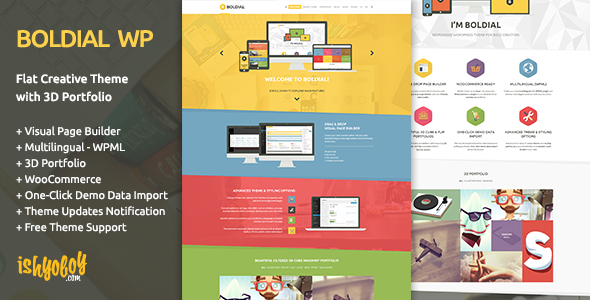Live Preview of Boldial WP - Flat Creative Theme with 3D Portfolio