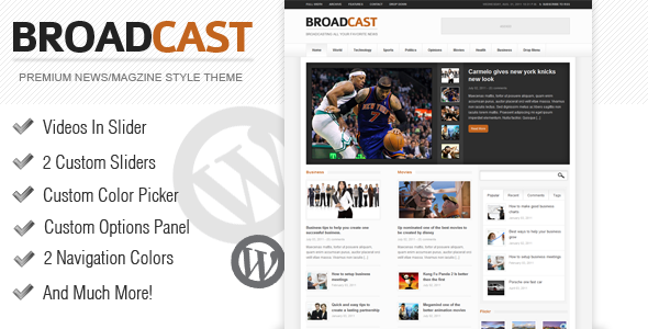 Live Preview of Broadcast - News / Magazine Wordpress Theme