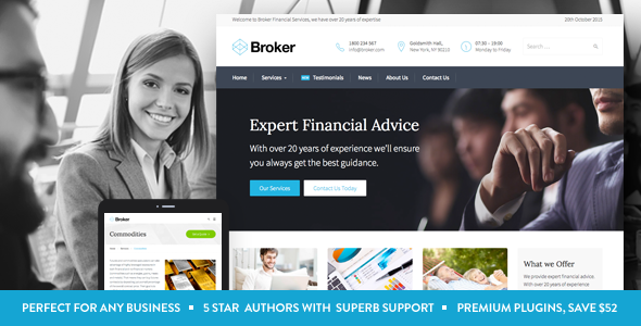 Live Preview of Broker - Business and Finance WordPress Theme