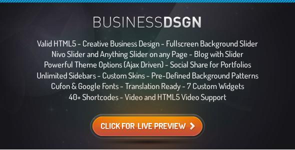 Live Preview of Business Design Premium Wordpress Theme