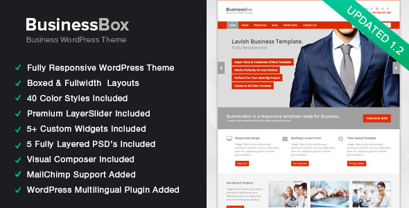 Live Preview of BusinessBox - Responsive Business WordPress Theme