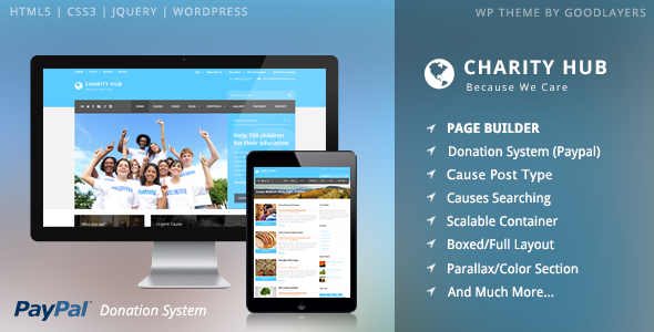 Live Preview of Charity Hub - Charity / Nonprofit / Fundraising WP