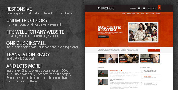 Live Preview of ChurcHope - Responsive WordPress Theme