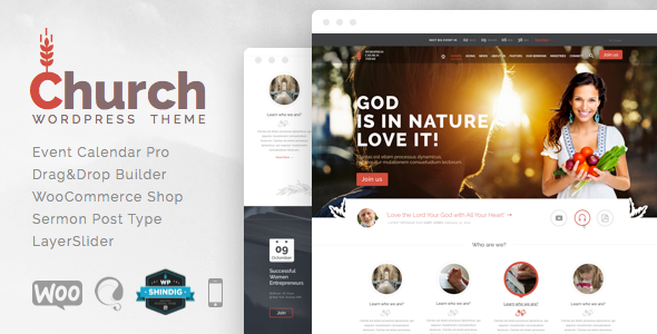 Live Preview of Church and Events - Responsive WordPress Theme