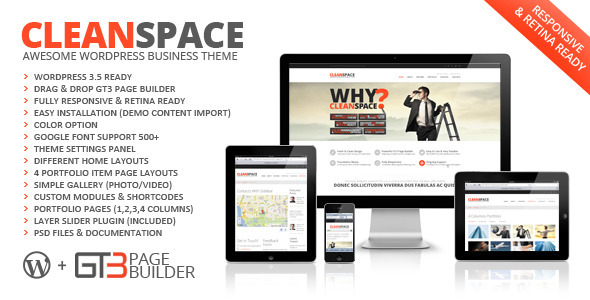 Live Preview of CleanSpace Retina Ready Business WP Theme