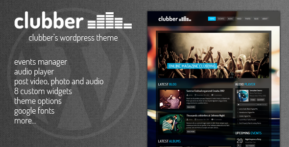 Live Preview of Clubber - Events & Music WordPress Theme