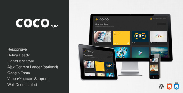 Live Preview of Coco - Clean & Minimal Portfolio/Blog Theme - WP