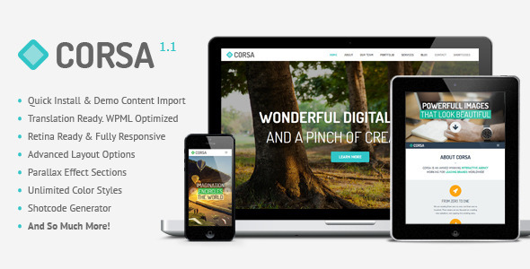 Live Preview of Corsa - Retina Responsive Creative OnePage Theme