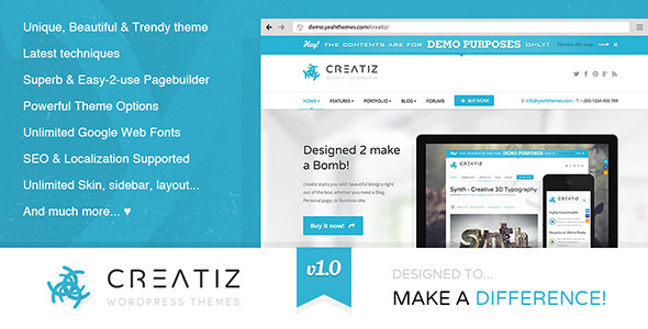 Live Preview of Creatiz WP theme - Designed to make a difference