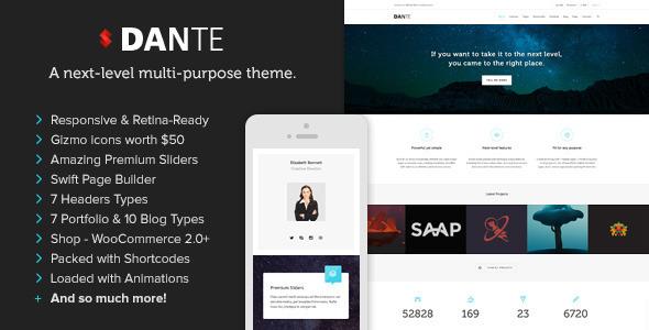 Live Preview of Dante - Responsive Multi-Purpose WordPress Theme