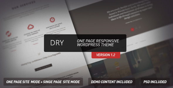 Live Preview of Dry  - One Page Responsive Wordpress Theme