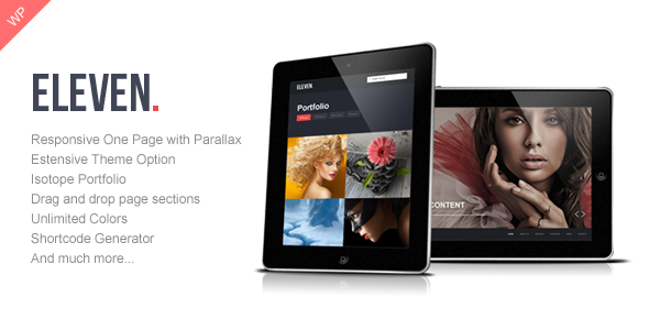 Live Preview of Eleven - Wordpress Responsive One Page Parallax
