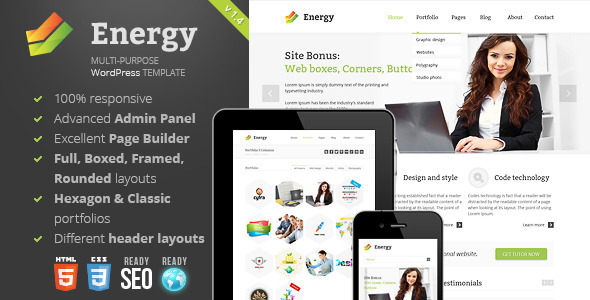 Live Preview of Energy -  Responsive Multi-Purpose Theme
