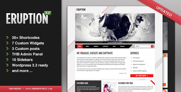 Live Preview of Eruzione wordpress