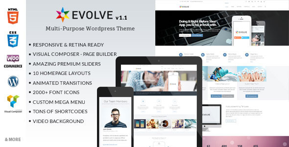 Live Preview of Evolve - Multipurpose Wordpress Theme