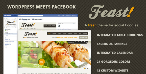 Live Preview of Feast - Facebook Fanpage & WordPress theme