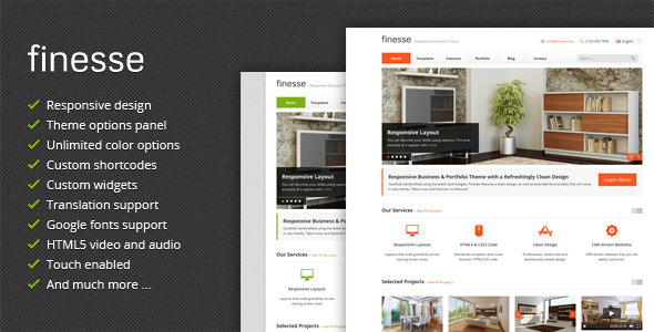 Live Preview of Finesse - Responsive Business WordPress Theme