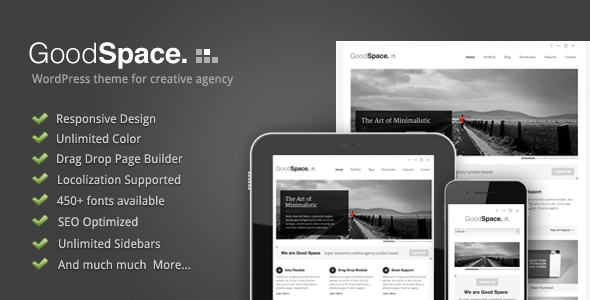 Live Preview of Good Space - Responsive Minimal WP Theme
