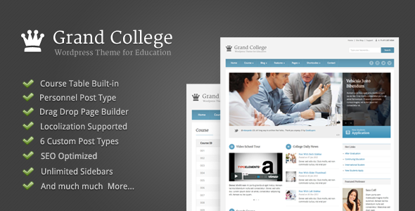 Live Preview of Grand College - Wordpress Theme For Education