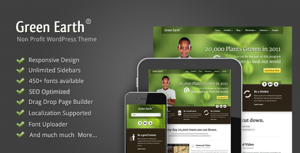 Live Preview of Green Earth - Environmental WordPress Theme