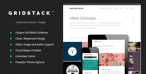 Live Preview of GridStack - Responsive Agency WordPress Theme