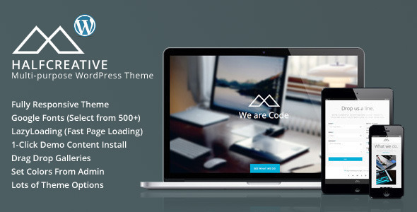 Live Preview of HalfCreative - One Page Portfolio WordPress Theme