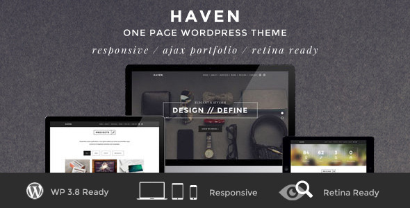 Live Preview of Haven - Elegant One Page WordPress Theme
