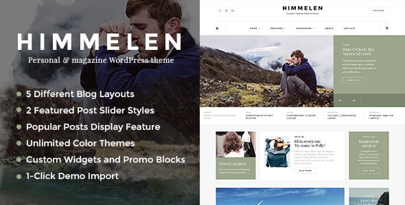 Live Preview of Himmelen - Personal Blog WordPress Theme