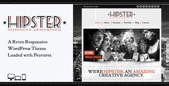 Live Preview of Hipster: Retro Responsive WordPress Theme