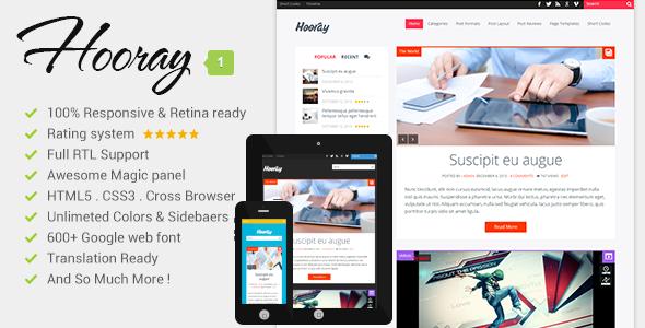 Live Preview of Hooray - Premium Wordpress Blog Theme