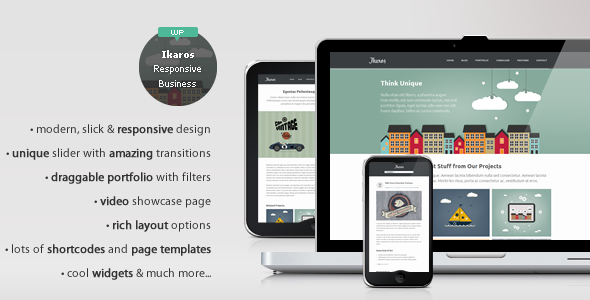 Live Preview of Ikaros - Responsive WordPress Business & Portfolio