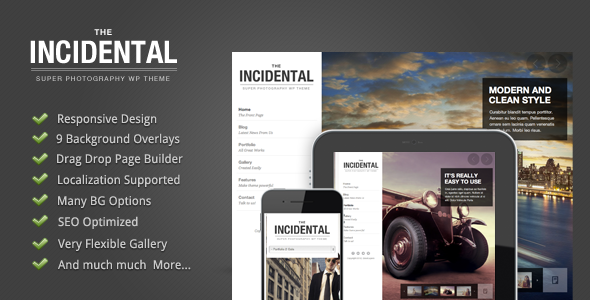 Live Preview of Incidental - High Class Photography WP Theme
