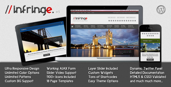 Live Preview of Infringe - Responsive Business & Corporate WP