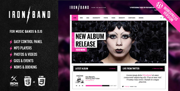 Live Preview of IronBand - Responsive Music & DJ Wordpress Theme