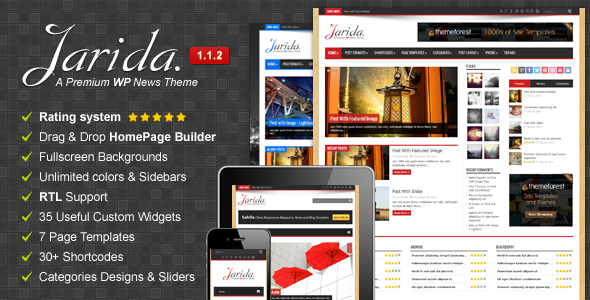 Live Preview of Jarida - Responsive WordPress News, Magazine, Blog